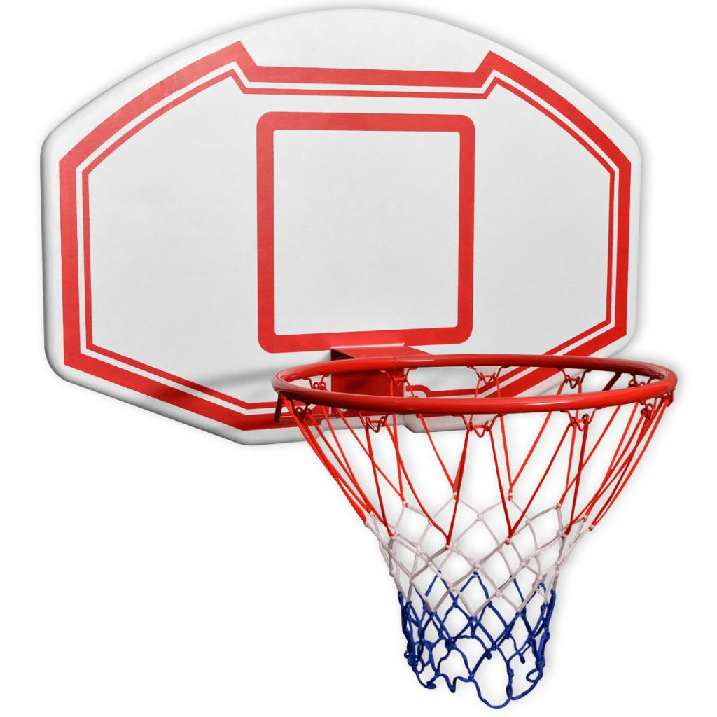 Three Piece Wall Mounted Basketball Backboard Set 90x60 cm