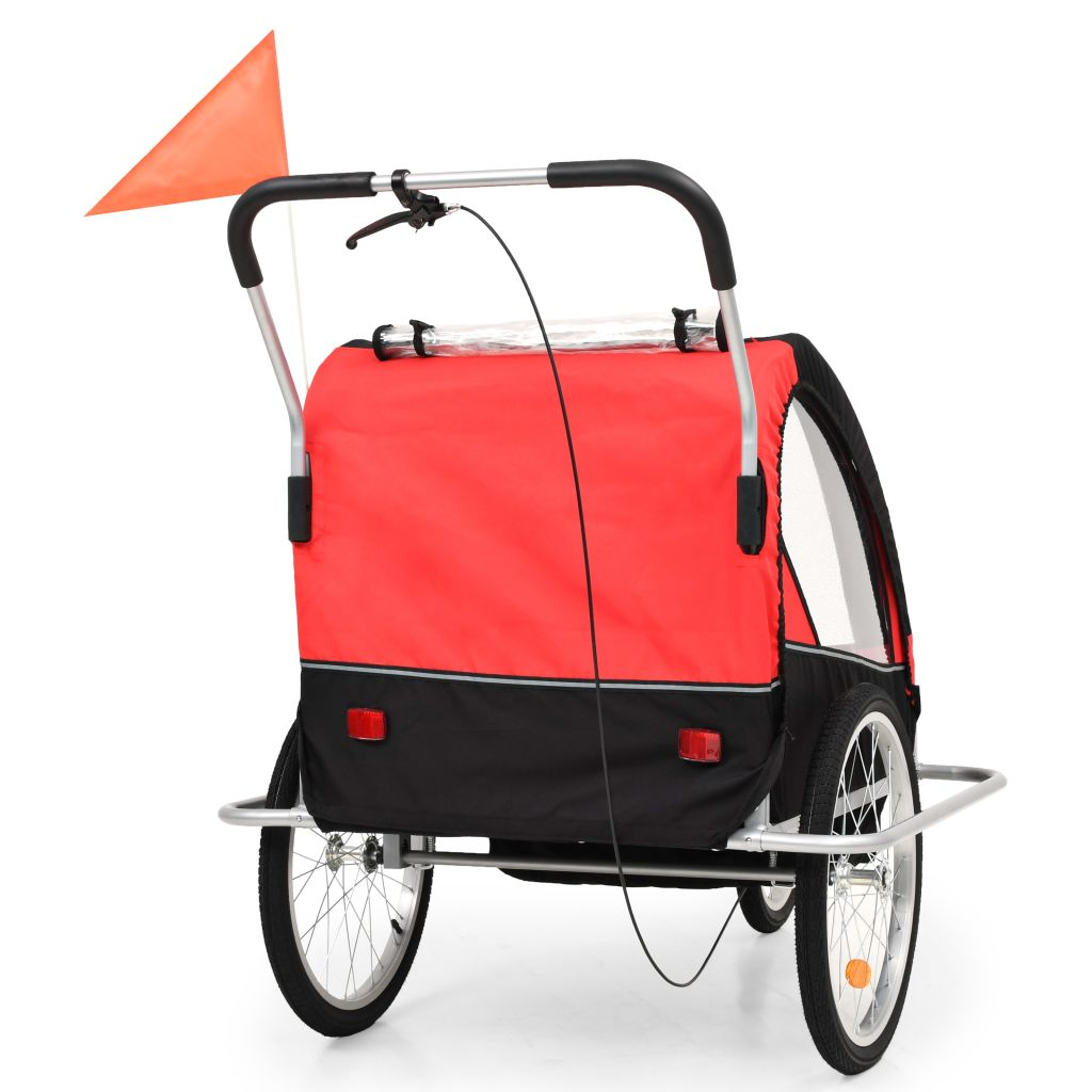 2-in-1 Kids' Bicycle Trailer & Stroller Black and Red