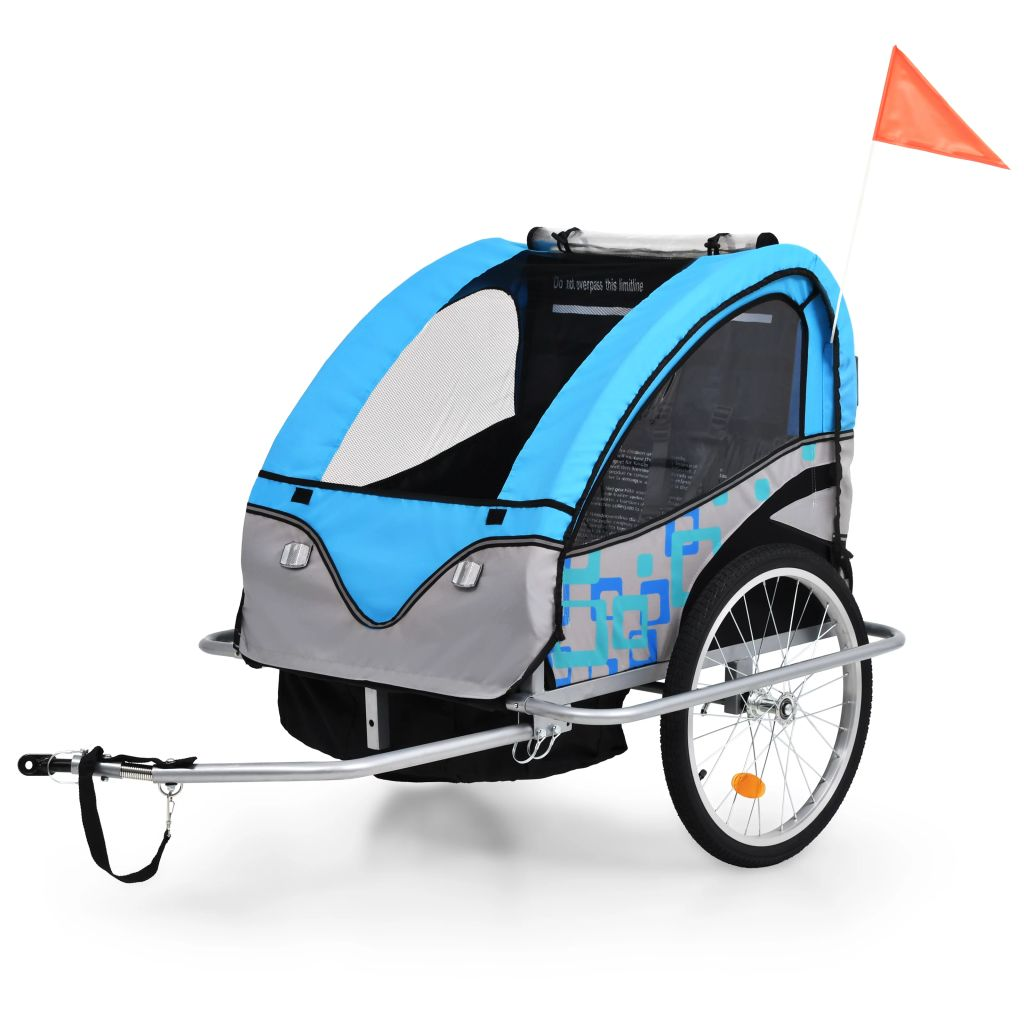 2-in-1 Kids' Bicycle Trailer & Stroller Blue and Grey