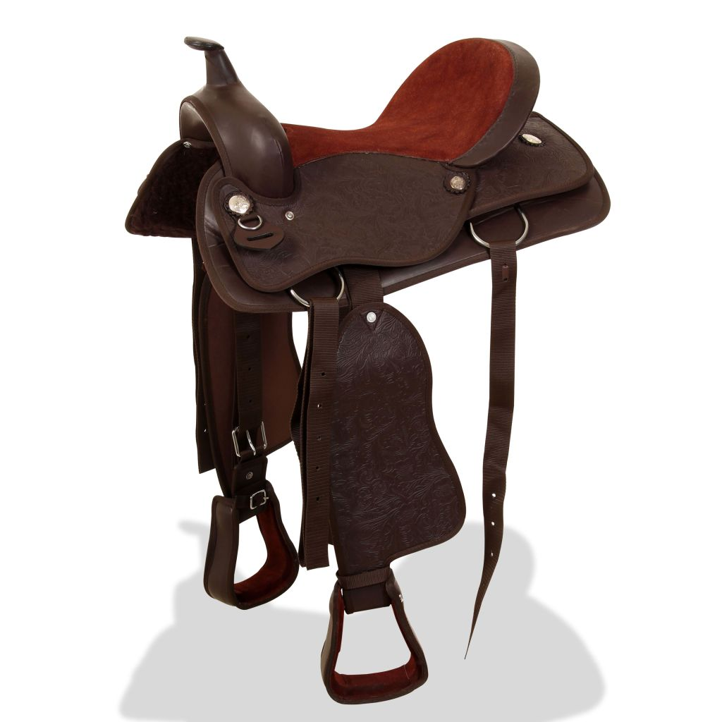 """Western Saddle, Headstall&Breast Collar Real Leather 15"""" Brown"""