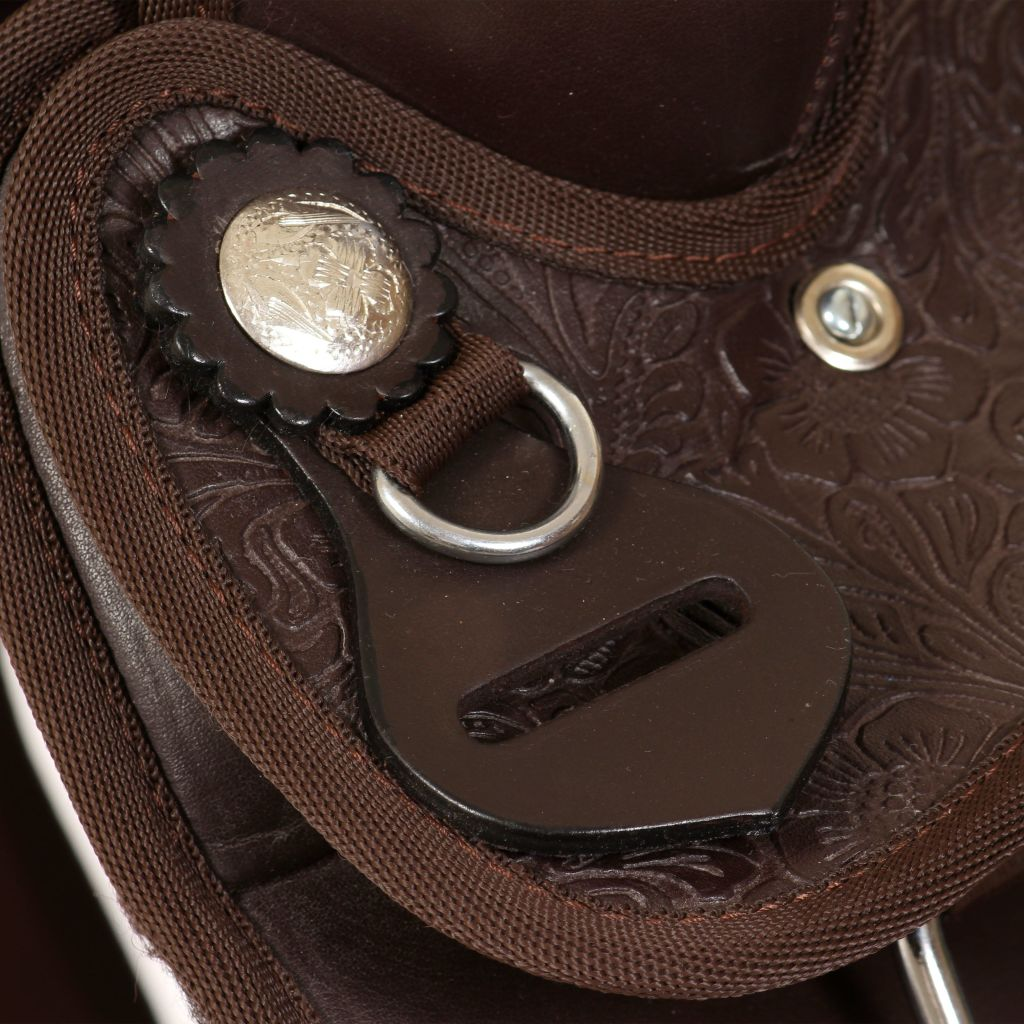 """Western Saddle, Headstall&Breast Collar Real Leather 16"""" Brown"""