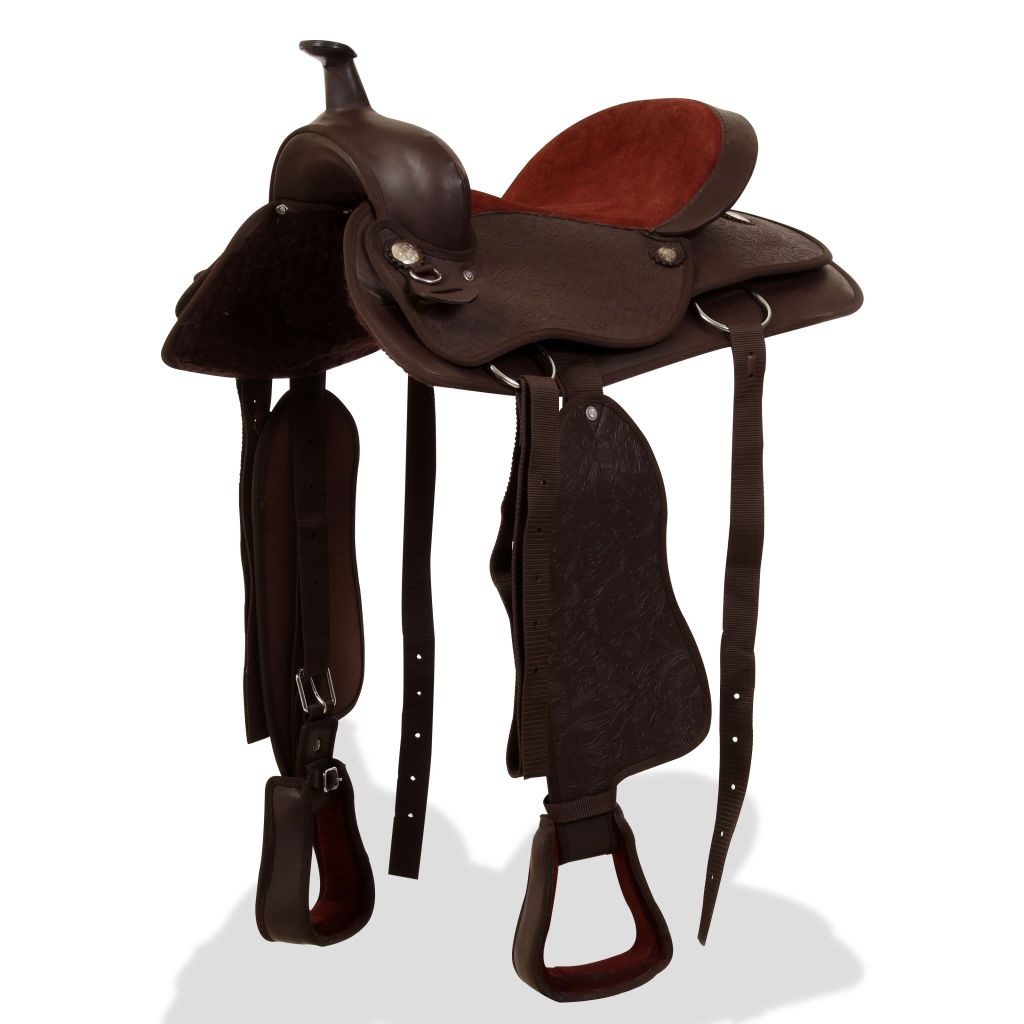 """Western Saddle, Headstall&Breast Collar Real Leather 17"""" Brown"""