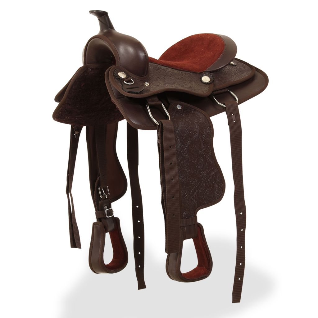 """Western Saddle, Headstall&Breast Collar Real Leather 12"""" Brown"""