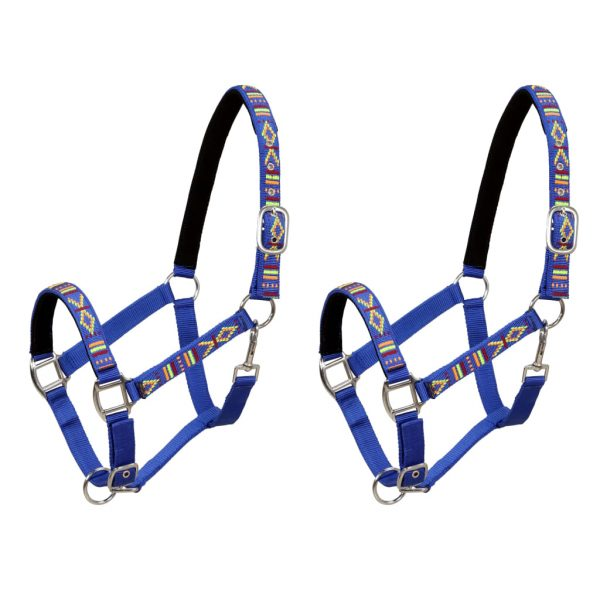 Head Collars 2 pcs for Horse Nylon Size Pony Blue