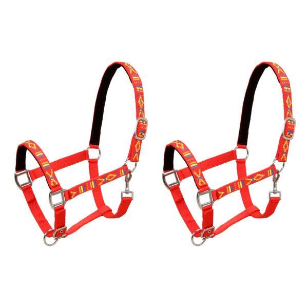 Head Collars 2 pcs for Horse Nylon Size Full Red