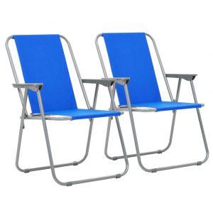 Folding Camping Chairs 2 pcs 52x59x80 cm Blue