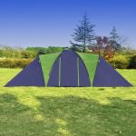 Camping Tent Fabric 9 Persons Blue and Green