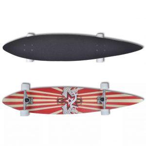 """Longboard Star 117 cm 9 Ply Maple Skateboard 9"""" ALU Truck Red"""
