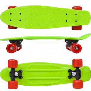 Retro Skateboard with Green Top Red Wheels 6.1""