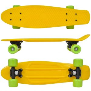 Retro Skateboard with Yellow Top Green Wheels 6.1""