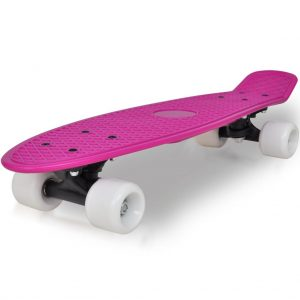 """Retro Skateboard with Lilac Top White Wheels 6.1"""""""