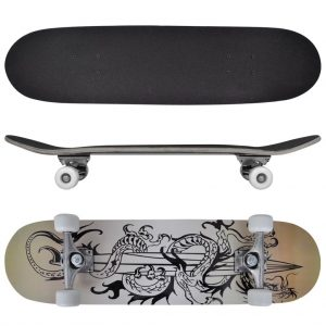 Oval Shape Skateboard 9 Ply Maple Dragon Design 8""