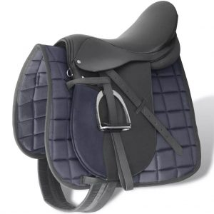 "Horse Riding Saddle Set 17.5"" Real Leather Black 18 cm 5-in-1"