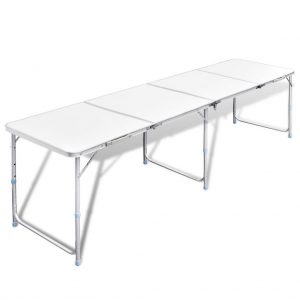 Foldable Camping Table Height Adjustable Aluminium 240 x 60 cm