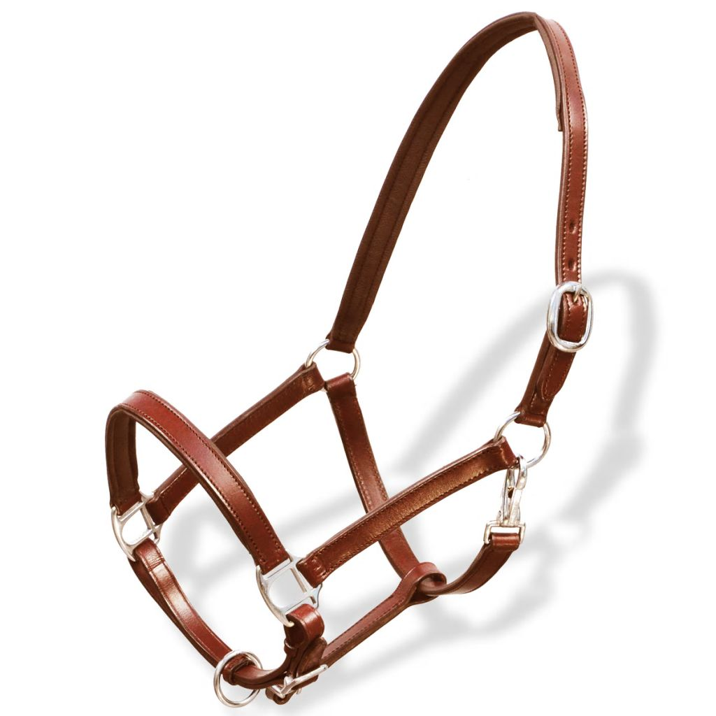 Real Leather Headcollar Stable Halter Adjustable Brown Pony