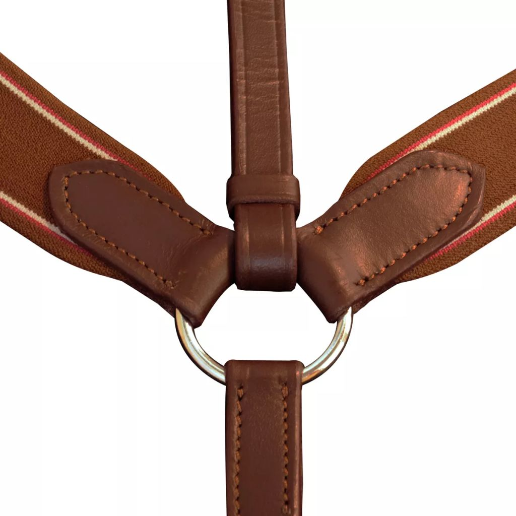 Leather Elastic Breastplate Martingale Adjustable Brown Cob