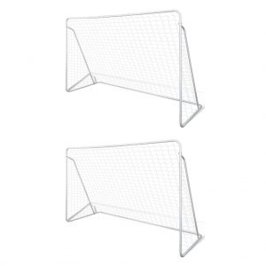 Football Goal Nets Steel 2 pcs 240x90x150 cm