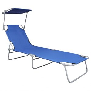 Folding Sun Lounger with Canopy Blue Aluminium