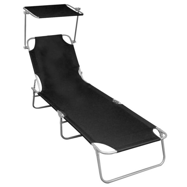 Folding Sun Lounger with Canopy Black Aluminium